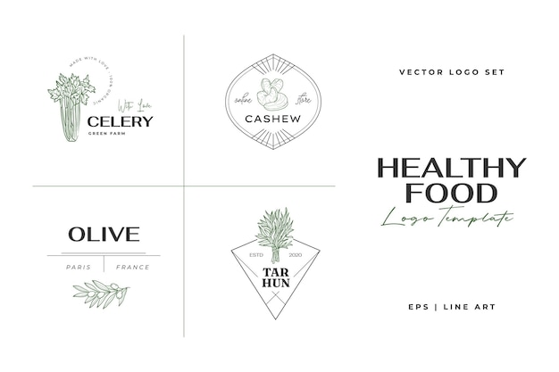레스토랑에 대한 건강 식품 로고 템플릿 손으로 그린 그림