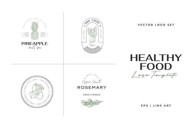 Healthy food logo template hand drawn illustrations for for restaurant