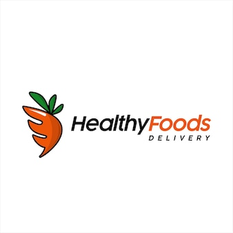 Healthy food logo vegan vector cartoon