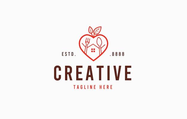 Healthy food love restaurant logo design template