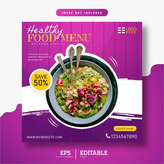 Меню здорового питания и ресторан в социальных сетях баннер с фиолетовым градиентом