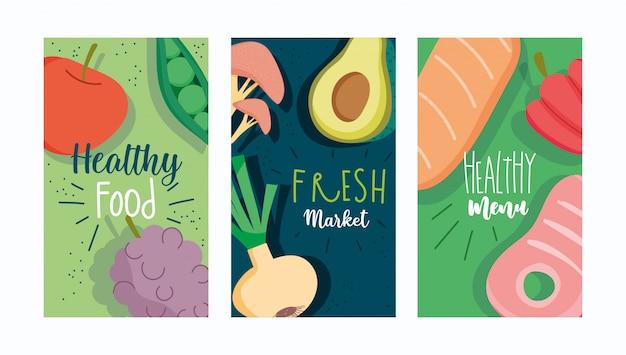 健康食品・メニュー・パンフレット・マーケット・生鮮食品・栄養ダイエット