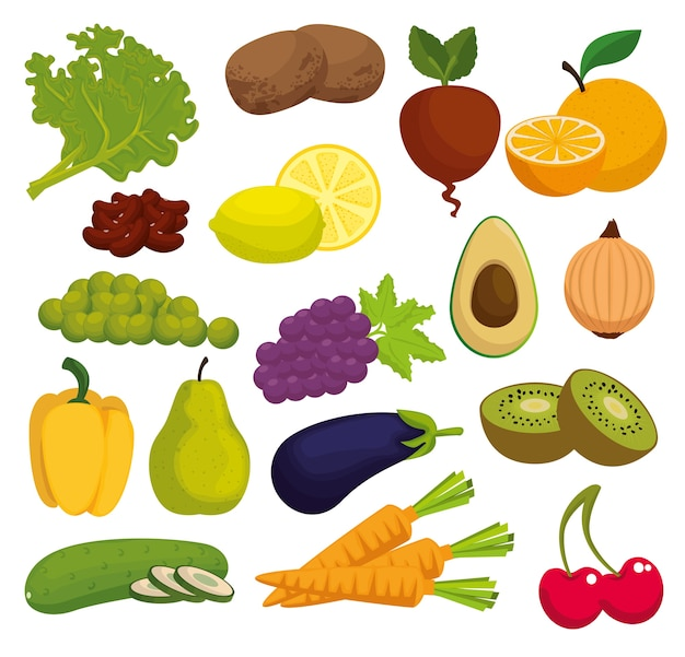 Healthy food menu icons