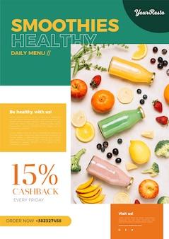 Modello di menu di cibo sano
