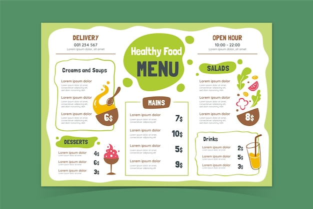 Шаблон меню здоровой пищи