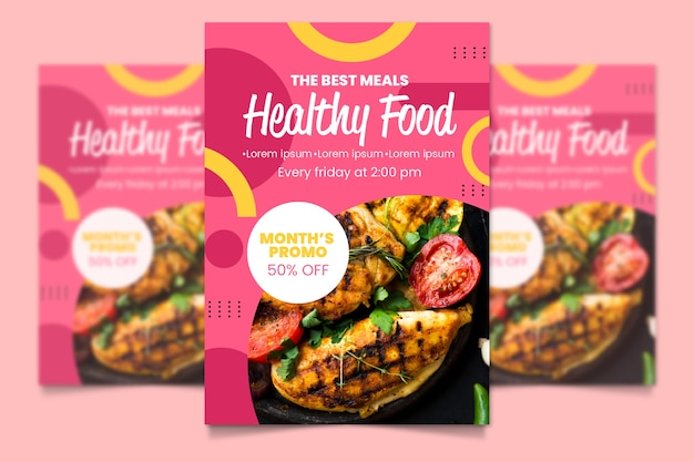 Healthy food menu template