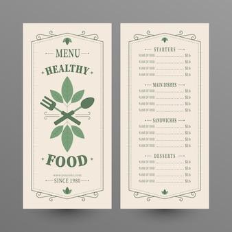 Healthy food menu vintage style