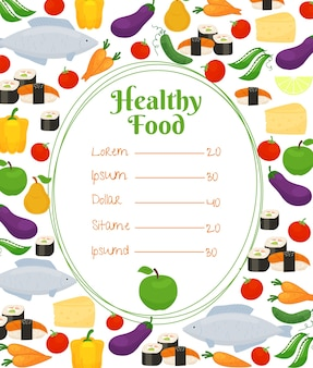 Healthy food menu with an oval frame and price list surrounded by colorful fish  vegetables  cheese and fruit icons in a scattered