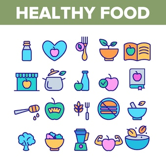 Healthy food nutrition collection icons set