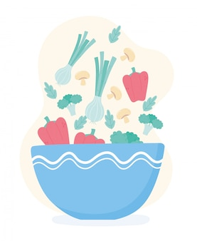 Здоровая пища, питание, диета, органическая миска с падающими овощами