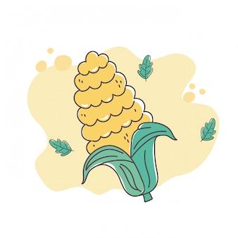 Здоровая пища, питание, диета, органическое зерно кукурузы значок