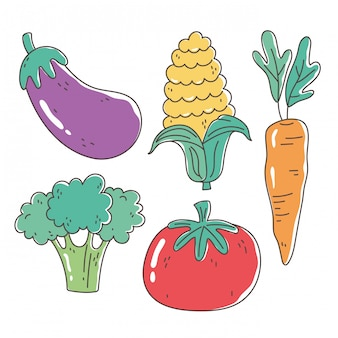Healthy food nutrition diet organic eggplant tomato carrot corn and broccoli vegetables icons