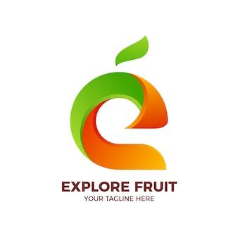 Healthy food organic fresh fruit colorful logo template