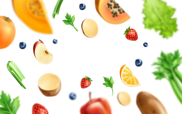 Healthy food, organic fruits and vegetables - orange, apple and mango slices with green leaves, potatos and forrest  berries