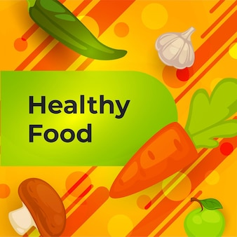 Healthy food and organic meal veggies banner