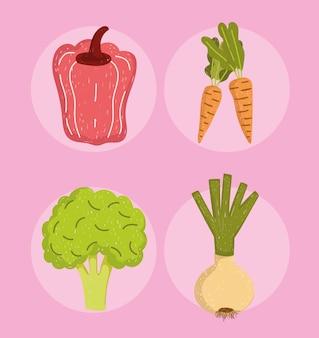 Здоровая пища перец брокколи лук и морковь иллюстрация