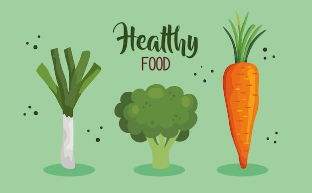 Плакат здоровой пищи с морковью и овощами