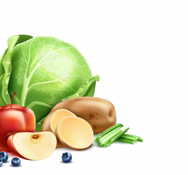 Healthy food product package design with organic fruit, vegetables and berries