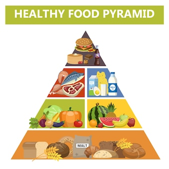 Healthy food pyramid. different groups of products. diet with fish, meat, milk and bread.    illustration