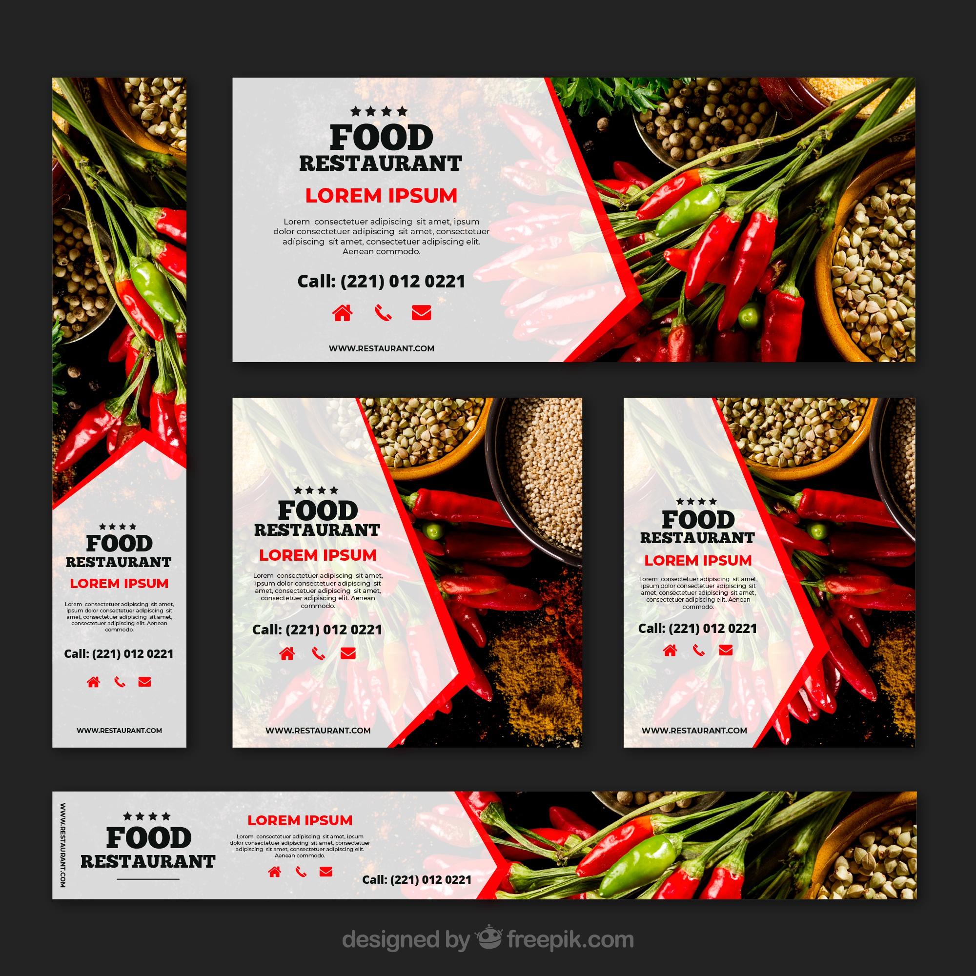 Healthy food restaurant banner collection with photos