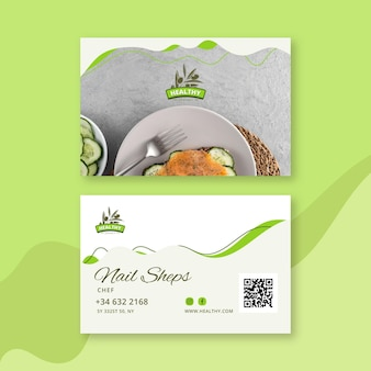 Healthy food restaurant double-sided horizontal business card template