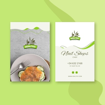 Healthy food restaurant double-sided vertical business card template