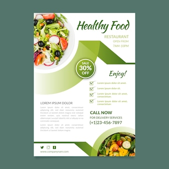 Healthy food restaurant flyer template concept