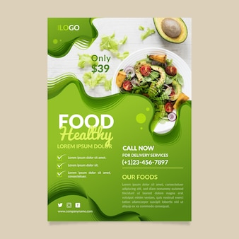 Healthy food restaurant flyer template design