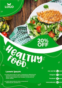 Healthy food restaurant flyer template with photo