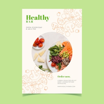 Healthy food restaurant flyer with photo