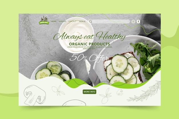 Modello di pagina di destinazione del ristorante di cibo sano