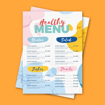 Progettazione del modello del menu del ristorante dell'alimento sano