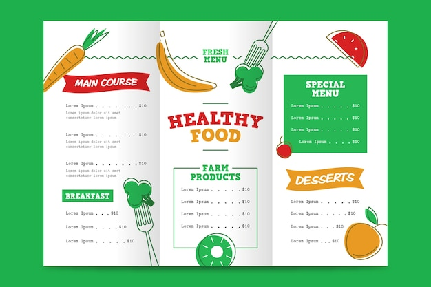 Healthy food restaurant menu template