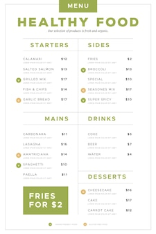 Healthy food restaurant menu vertical format