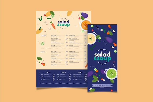 Healthy food restaurant menu