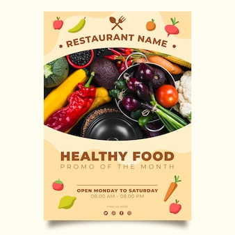 健康食品レストランポスターテンプレートコンセプト
