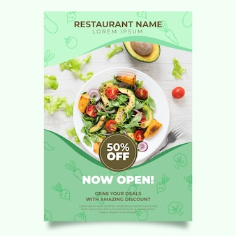Healthy food restaurant poster template design