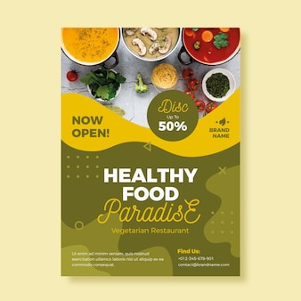 Healthy food restaurant poster template theme