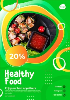 Healthy food restaurant poster template with photo