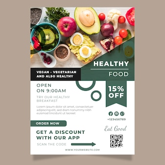 Healthy food restaurant poster template with photo Free Vector