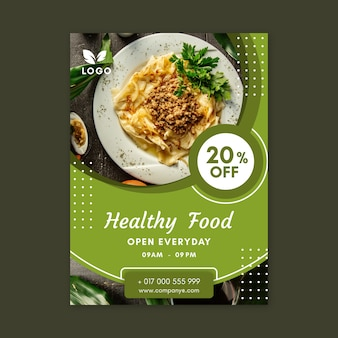 Healthy food restaurant poster template