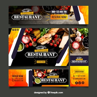 Healthy food restaurant web banner collection with photo