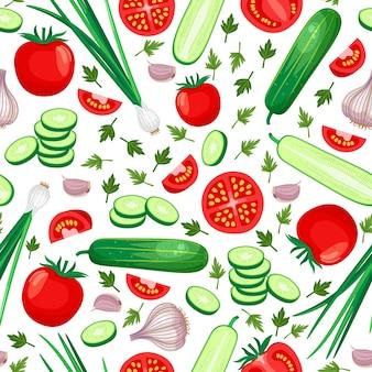 健康食品のシームレスなパターン。きゅうり、トマト、玉ねぎ、にんにく。ベクトルイラスト