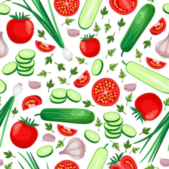 Healthy food seamless pattern. cucumber, tomato, onion and garlic. vector illustration