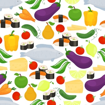 Healthy food seamless pattern with colorful scattered icons of eggplant  bell peppers  fish  sushi  fruit  lemon  cheese  peas  carrots  tomato and cucumber in square format