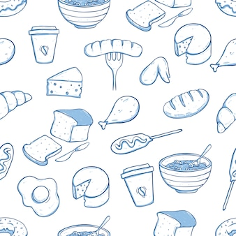 Healthy food in seamless pattern with doodle style