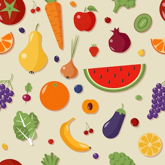 Healthy food seamless pattern with fruits and vegetables