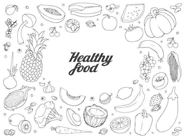건강에 좋은 음식 세트. 야채와 딸기의 다른 종류의 손으로 그린 거친 간단한 스케치.
