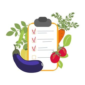 健康食品の買い物リストの概念フラットベクトルイラスト。ビタミン、ハーブ、新鮮な食材を使ったバランスの取れた食事のための健康野菜。ベクトルグラフィックス