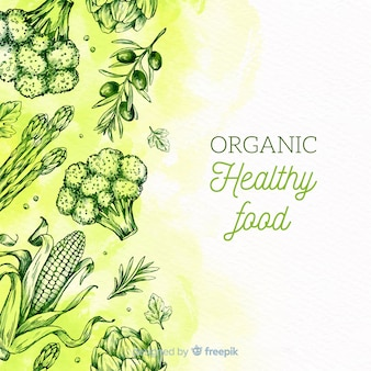 Healthy food sketches background
